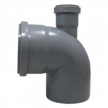 Отвод универсальный 110*110*50-90 фронт. вых/верх (серый) ПВХ